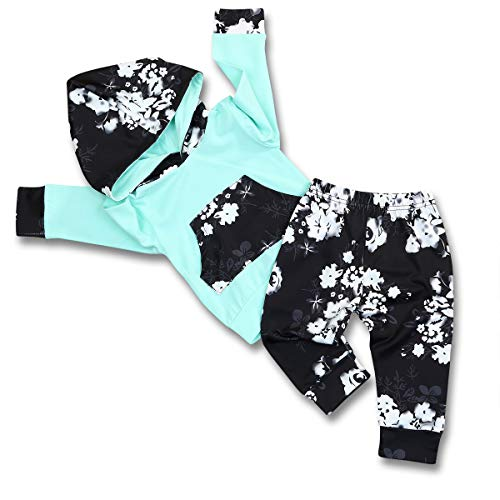 HappMA Infant Baby Girl Fall Outfits Long Sleeve Floral Hoodie Tops Pants