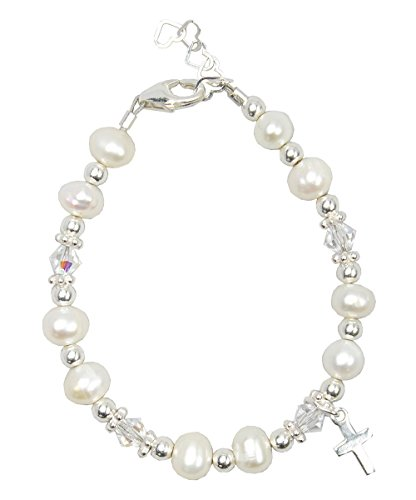 Christening Clear Swarovski Crystal with Cultured Fresh Water Pearls