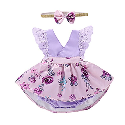 PROBABY Toddler Baby Girl Clothes Floral Dress Lace Ruffle Sleeve Romper