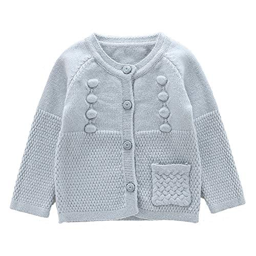 Moonnut Baby Girls Cardigan Sweaters Single Pocket Long Sleeve