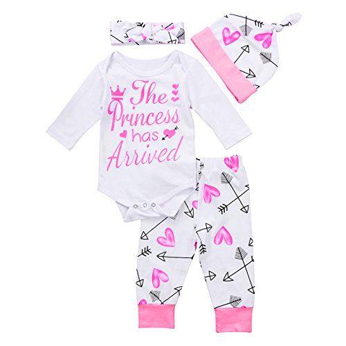 4 pcs Baby Girls Pants Set Newborn Infant Toddler Letter