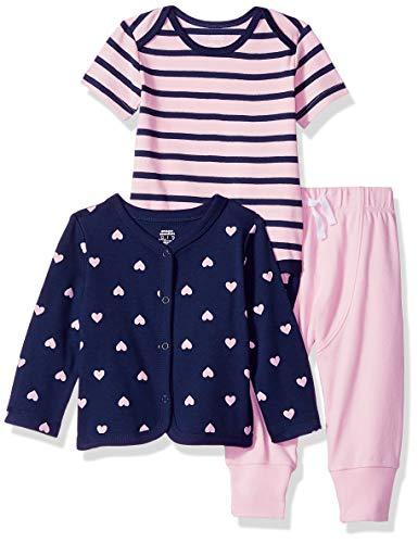 Amazon Essentials Baby 3-Piece Cardigan Set, Girl Heart, 0-3M