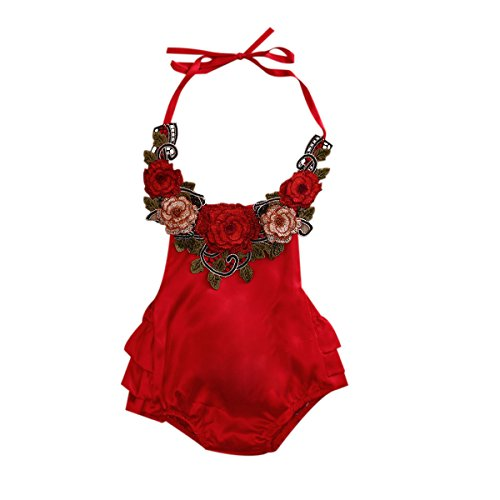 Baby Girl 3D Flower Applique Halter Floral Romper