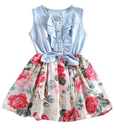 Baby Girls Dresses Lemon Flower Printed Bowknot Skirt Dress White