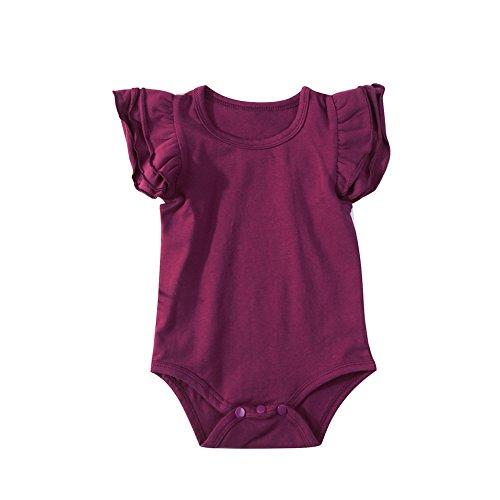 Infant Baby Girl Basic Ruffle Short Sleeve Cotton Romper Bodysuit