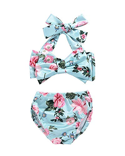 Cute Baby Girl Floral Bow Halter Bikini Set Swimsuit