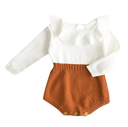 Eiffel Direct Baby Girls Sweet Knitted Fleece Romper Long Sleeve