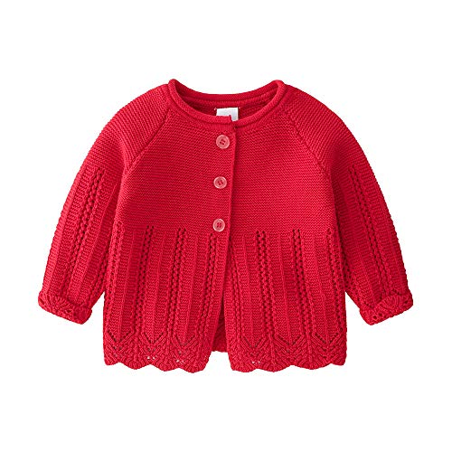 Knitted Baby Girls Cardigan Sweater Toddler Knit Button up Cardigan