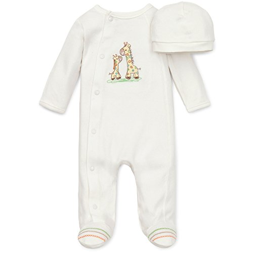 Little Me Unisex Baby 2 Piece Footie and Cap, Giraffe, Ivory, Preemie