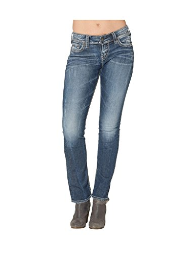Silver Jeans Co Women's Suki Curvy Fit Mid Rise Straight Leg Jeans
