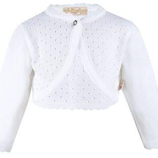 Lilax Baby Girls' Knit Long Sleeve One Button Closure Bolero