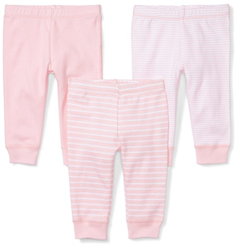 Moon and Back Baby Set of 3 Organic Pants, Pink Blush, Preemie
