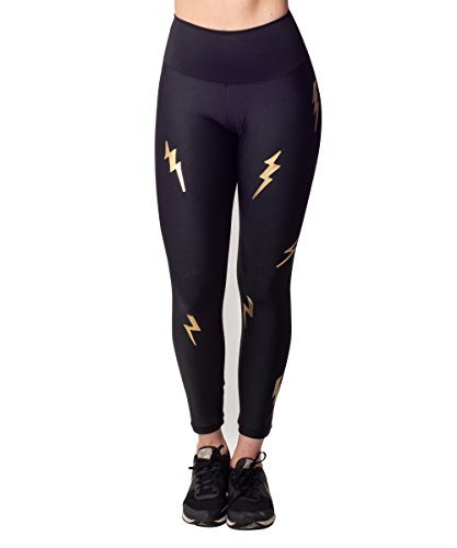 Activefit Gold Lightning Bolts Stretch High Waisted Workout Yoga Pants