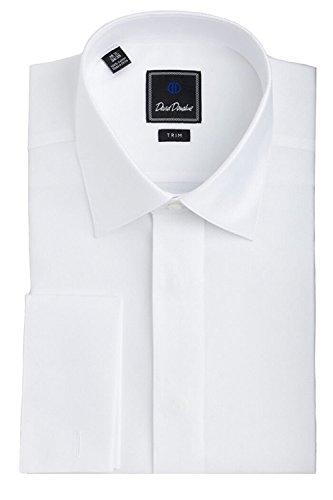 David Donahue Diamond Pattern Trim Fit Formal Tuxedo Shirt