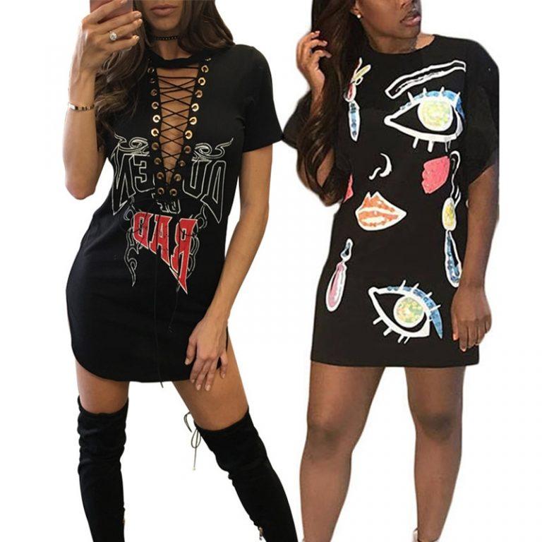 Ursohot Print Sexy Choker Neck Lace Up Mini Women Dress