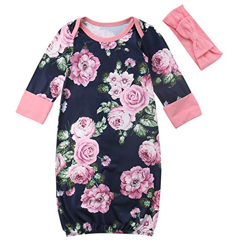 Andannby Newborn Baby Girls Floral Nightgown Long Sleeve