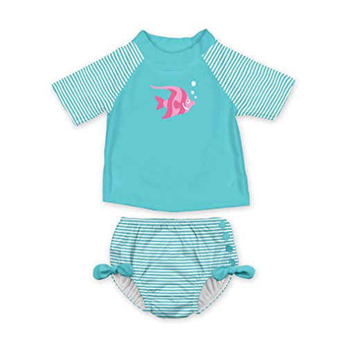 i play. Baby Girls 2pc Rashguard Swimsuit Set