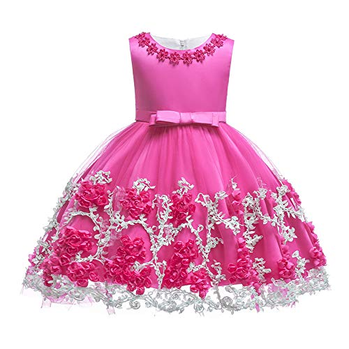 TUOKE Pageant Dresses for Girls Round Neck Sash Satin
