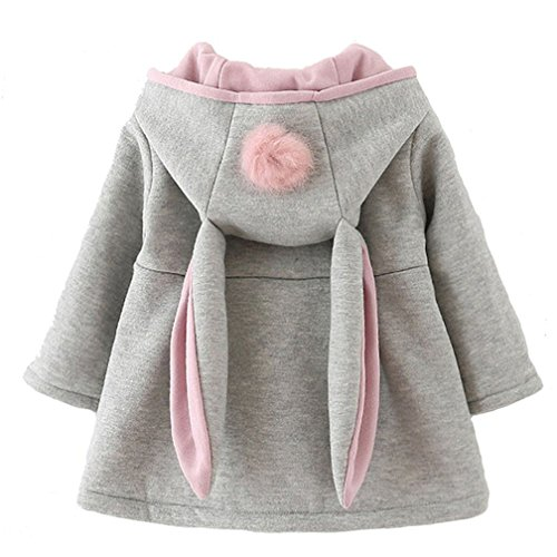CoKate Infant Baby Girl Fall Winter Hooded Coat Sweet Rabbit Jackets Outerwear