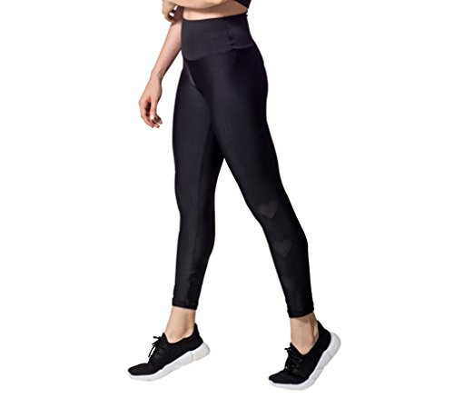 Activefit Hearts Stretch High Waisted Workout Yoga Pants Black