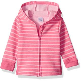 Hanes Ultimate Baby Zippin Fleece Hoodie, Pink Stripes Print