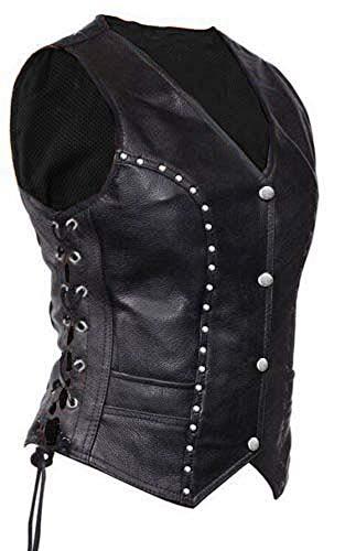 Women Ladies Real Black Cow Leather Vest Bikers Style