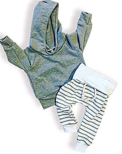 Newborn Baby Boys Girls Grey Hoodie Sweatshirt Top + Striped Pants Outfits Set