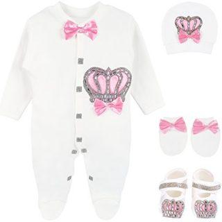 Lilax Baby Girl Newborn Crown Jewels Layette 4 Piece Gift Set