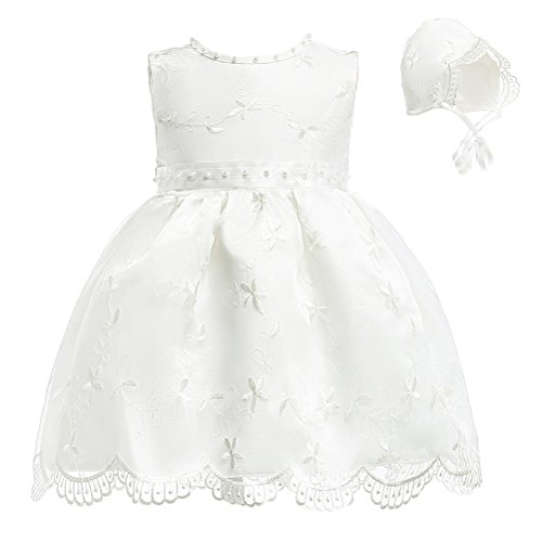 Moon Kitty Baby Girls Flower Beaded Embroideries Baptism Dresses