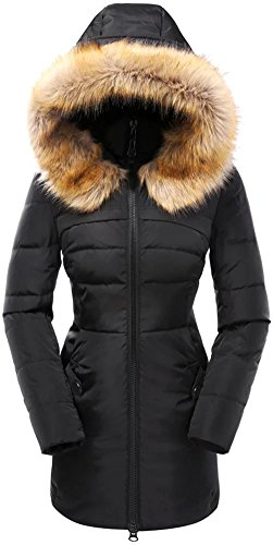 valuker Women's Down Coat with Fur Hood 90D Parka Puffer Jacket