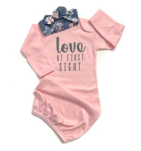 Newborn Baby Girl Love at First Sigth Floral Nightgowns Headband