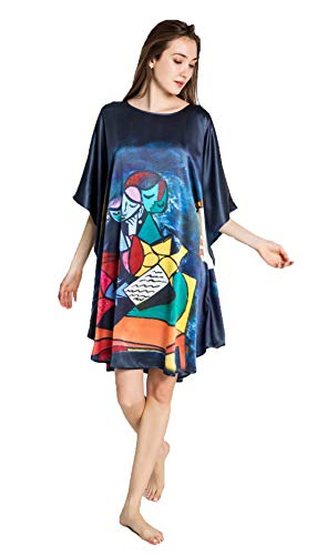 Grace Silk 100% Silk Nightgown, Picasso - Deux Personnages