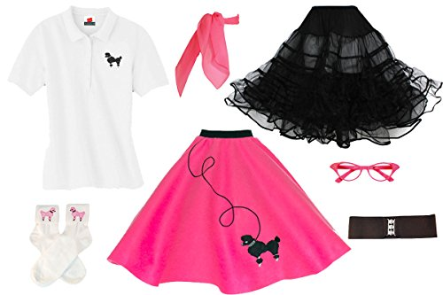 Hip Hop 50s Shop Adult 7 Piece Poodle Skirt Costume Set
