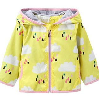 Kids Baby Girls Rain Cloud Print Windproof Hooded Coats Sunscreen