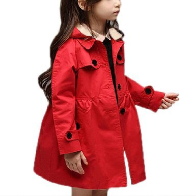 Arshiner Girls Coat Waterproof Hooded Trench Jacket Dress Outwear Raincoat