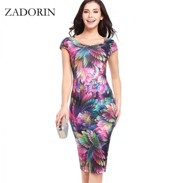 Retro Summer Dress Women Floral Bodycon Pencil Dress
