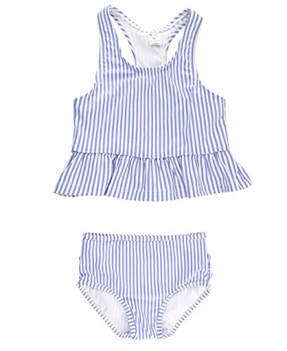 RuffleButts Baby/Toddler Girls Periwinkle Blue Seersucker Peplum Tankini