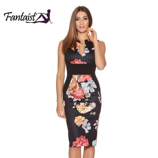 Fantaist Women Summer Dresses Vestidos Vintage Floral Print