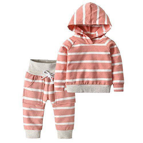 Toddler Infant Baby Boys Girls Stripe Long Sleeve Hoodie Tops Sweatsuit Pants