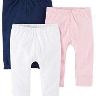 Carter's Baby Girls' 3 Pack Long Pants, Pink Navy Newborn