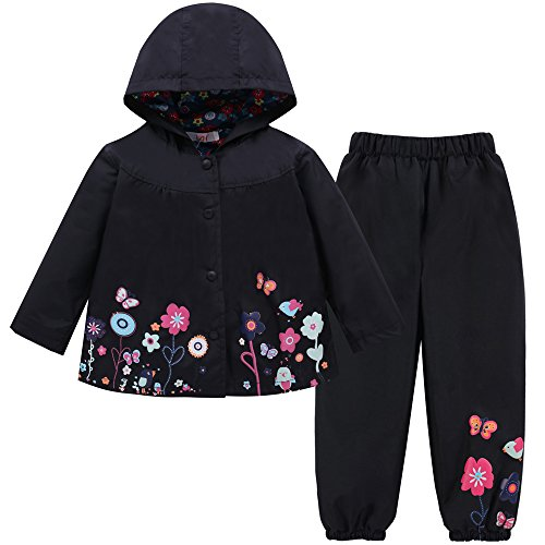 LZH Girl Baby Kid Waterproof Hooded Coat Jacket Outwear