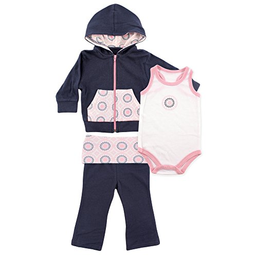 Yoga Sprout 3 Piece Jacket, Top and Pant Set, Navy/Baby Pink Ornamental