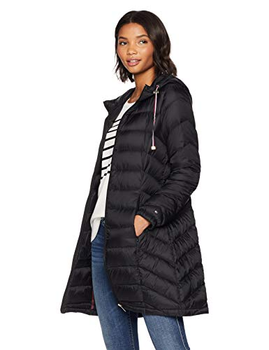 Tommy Hilfiger Women's Mid Length Packable Down Chevron Quilt Coat