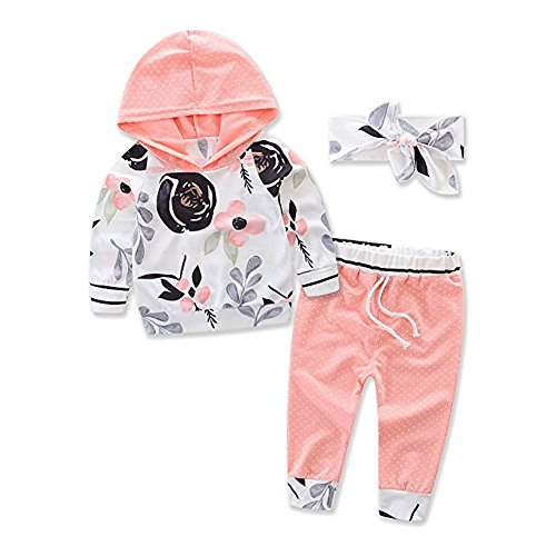 Askwind Baby Girls Floral Hoodie+ Floral Pant Set Leggings