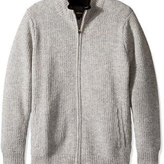 Pendleton Men's Shetland Full-zip Cardingan Sweater, Grey Heather