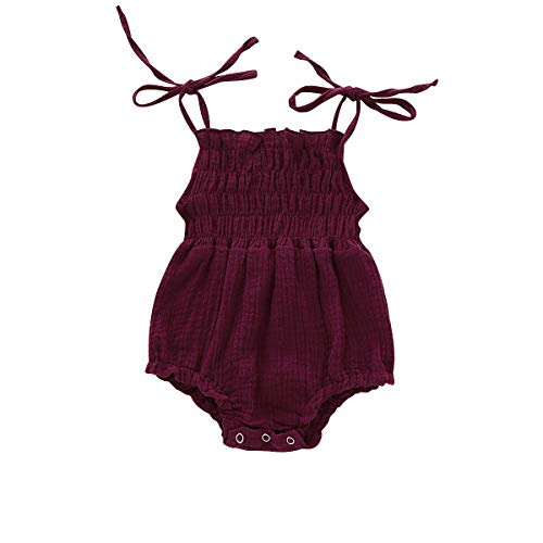 YOUNGER TREE Newborn Baby Girl Sling Romper Sleeveless Solid Color Bodysuit