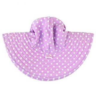 RuffleButts Baby/Toddler Girls Lilac Polka and Stripe Reversible Swim Hat