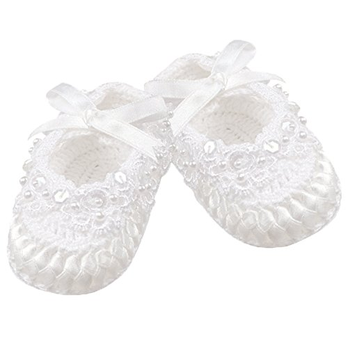 Country Kids Baby Girls' Crochet Christening Baptism Crib Shoe