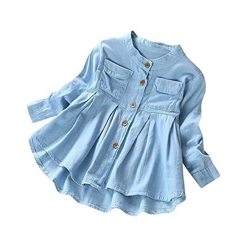 SWNONE Baby Girls Kid Denim Ruffle Long Sleeve T-Shirt Tops