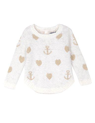 Nautica Baby Girls' Intarsia Sweater with Furry Yarns